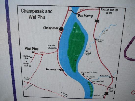 Champasak Province, Laos: チャムパーサック周辺地図