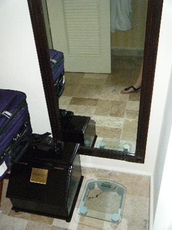 Royal Hideaway Playacar: Full length mirror and scale so you can see how much weight you gain from all the yummy food.