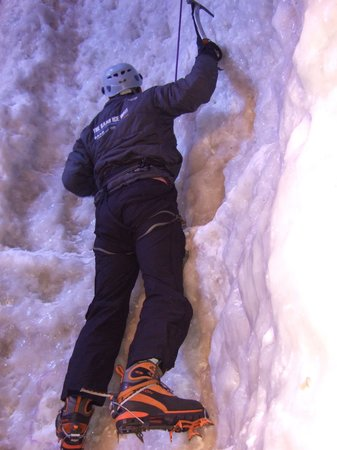 Vertical Chill Ice Wall: Phil on Ice Climbing Wall.Manchester.