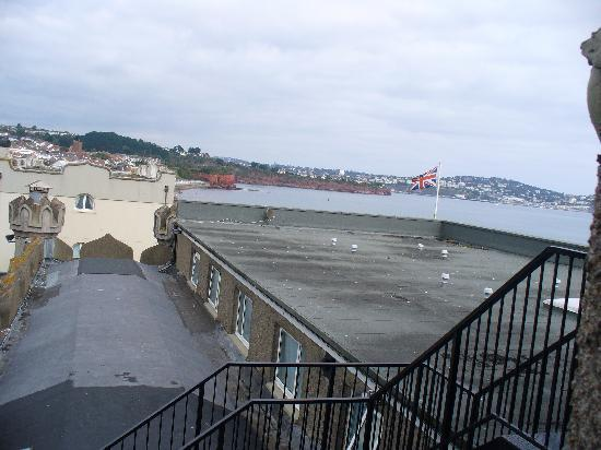 The Redcliffe Hotel: View of a flat roof and sea in the distance