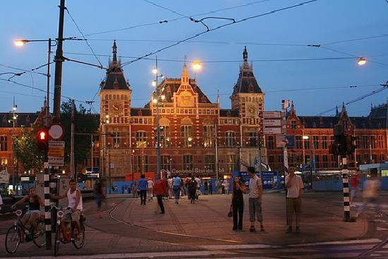 Amsterdam, The Netherlands: Central Station at night