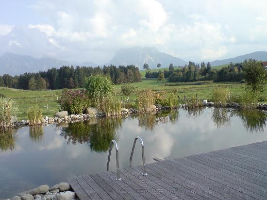 Landhaus Kossel: Wunderschöner Naturpool mit Bergpanorama