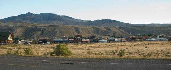 Yellowstone River Motel: The town of Gardiner, taken from the road near the Roosevelt Arch.  It really is that close!
