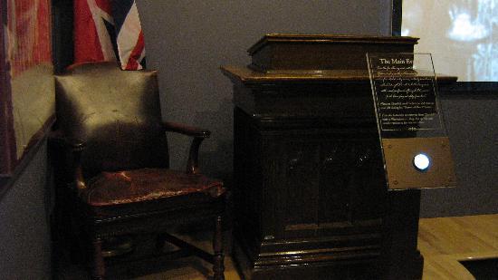 "The National Churchill Museum: Podium where ""Iron Curtain"" speech was made"