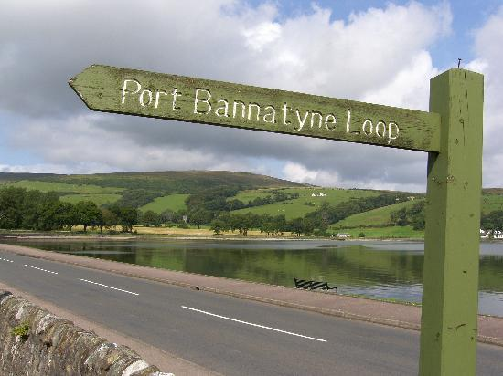 The Port Royal Hotel: Typical Port Bannatyne sign and view near hotel.