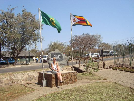 Drifters' Victoria Falls Inn: Fiona at the entrance to the Falls
