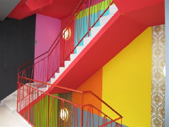 very colorful hotel 39 s stair picture of 25hours hotel by levi 39 s frankfurt tripadvisor. Black Bedroom Furniture Sets. Home Design Ideas