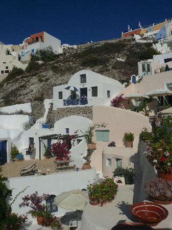 Ifestio Villas : View of Villa Paride perched upon the hillside.  Taken from Aris Caves deck