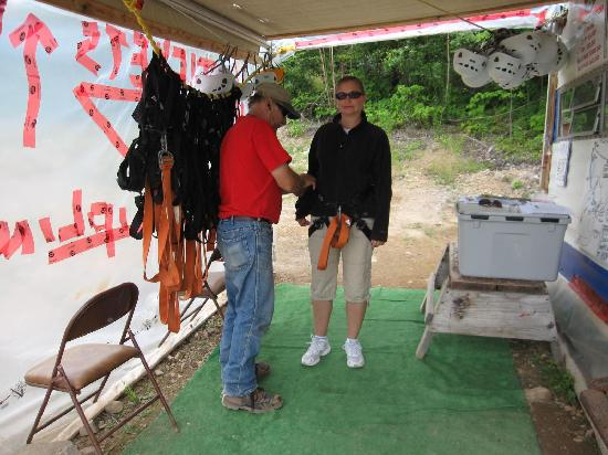 Anchors Above Zipline : Getting strapped in