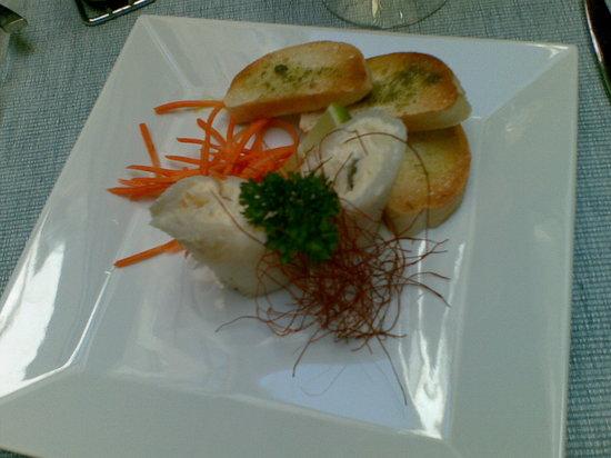 Tri Stoleti: Halibut rolls filled with milk cream, capers and saffron