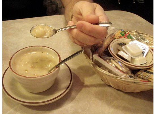 Nick's Patio: clam chowder - without a flash