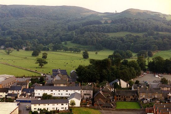 A shot of the back of the Owain Glyndwr Parliament Building, from a hill above Machynlleth.