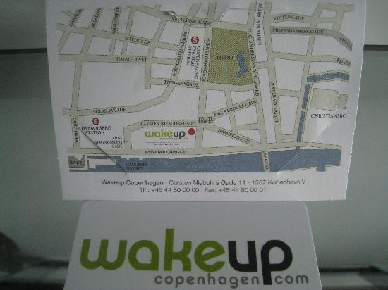 Wakeup Copenhagen Carsten Niebuhrs Gade: business card and map