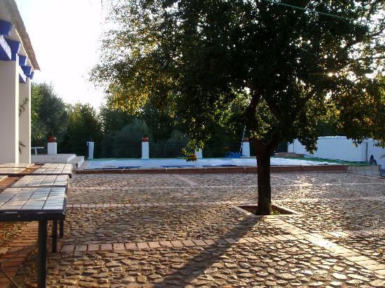 Casa Rural El Laderon: Empedrado junto fachada y piscina