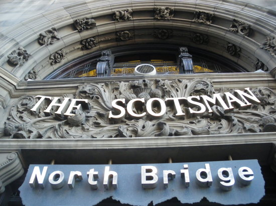 Sign of the street side entrance of the North Bridge Brasserie at the Scotsman Hotel