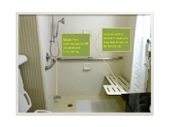 Holiday Inn Express Murfreesboro Central: Poorly Remodeled Roll-in Shower in Room #103