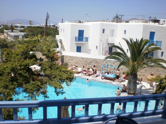 Poseidon Hotel - Suites: Our room overlooking the active pool!
