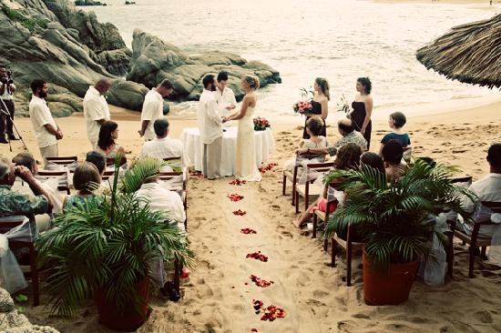Our private wedding ceremony on the beach.