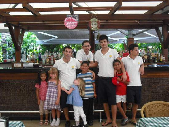 Candan Club Hotel: the bar staff saying bye to the kids ace guys