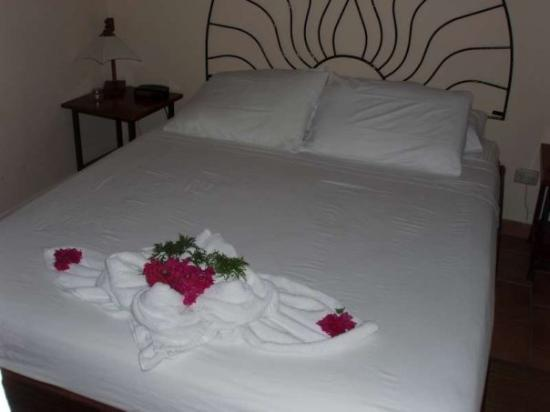 Hotel Costa Coral: A towel creation on our bed in Tambor... a lovely place to stay called Costa Coral... they were