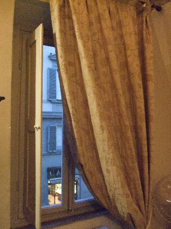 Accademia House: View out the window. The Cafe pictured across the street is where you redeem your breakfast vouc