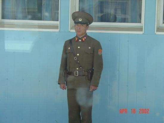 DMZ North Korean Soldier On Guarding The MDL Military Demarcation Line