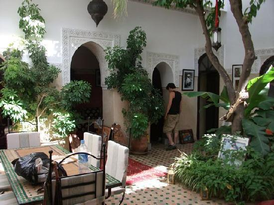 courtyard of Riad Aguerzame after a long day at the souk