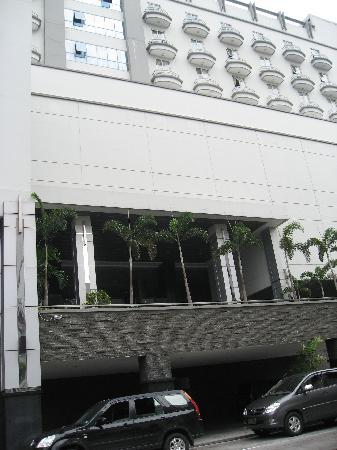 hotel front  - view from parking area