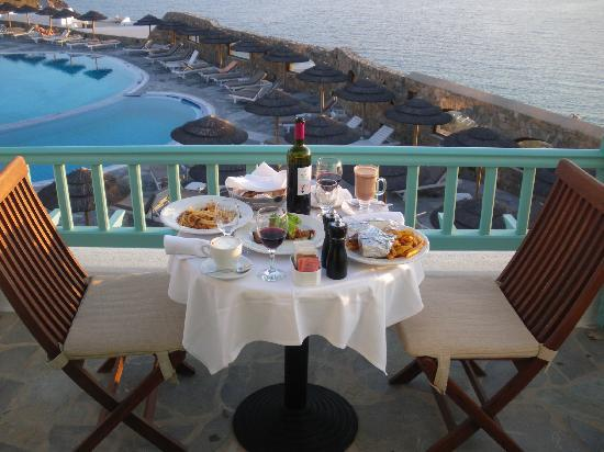 Royal Myconian Resort Thalasso Spa Center In Room Dining On Our Balcony