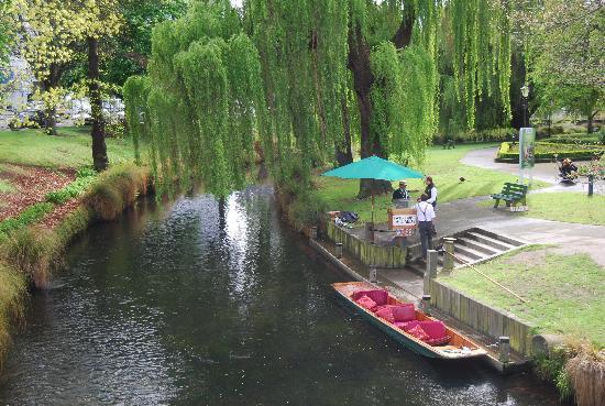 أنابيل كورت موتيل: Punting on th Avon River in Christchurch
