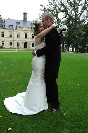 Us at our wedding at Chateau Mcely
