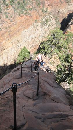 Zion's Main Canyon: Looking down to the hikers coming up