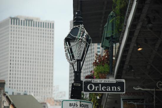 New Orleans, LA: Mardi Gras beads on a lamppost.