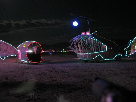 Black Rock City, NV: Mutant vehicles @ night