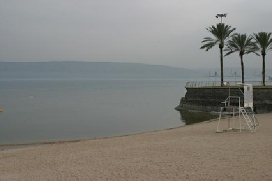 Small beach along the sea of galilee at the hotel for Small beach hotels
