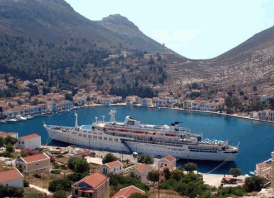 Kastellorizo, Greece: modern-day pic of kastelorizo harbour, with ship