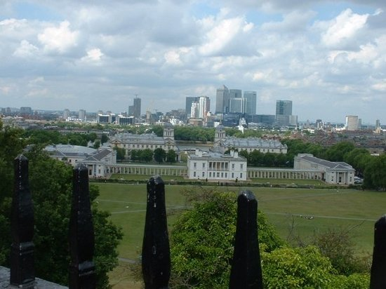 Looking down the meridian line to the Old Royal Naval College.