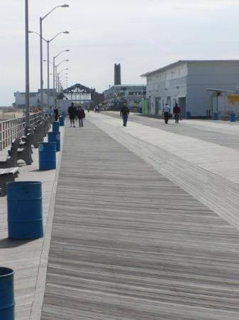 Asbury Park, NJ: Looking south from Convention Hall along the boardwalk to the Casino Building.