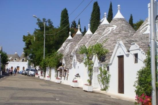 Alberobello Italy  city photos gallery : Alberobello, Italy row of conical houses each with different symbol ...