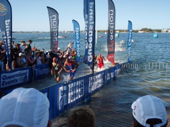 Southport, Australien: Elite Mens swim exit