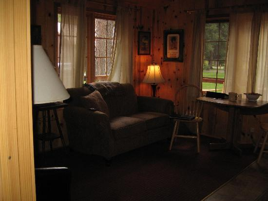 Lake Creek Lodge: Living room, cabin #13