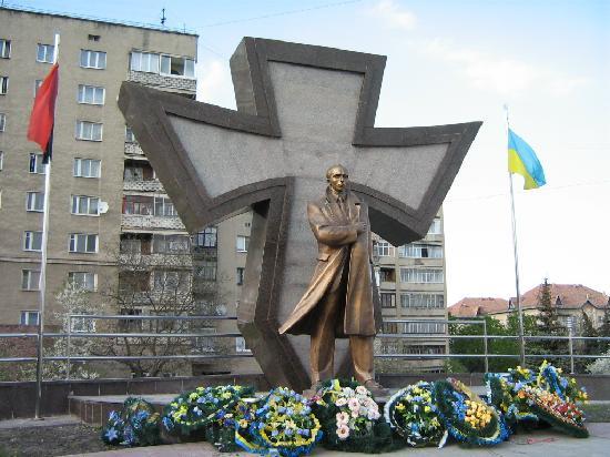 Stepan Bandera Monument, European Sq. Ivano-Frankivsk, Ukraine