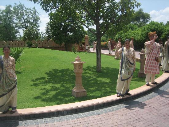 The Oberoi Rajvilas: The staff waving goodbye