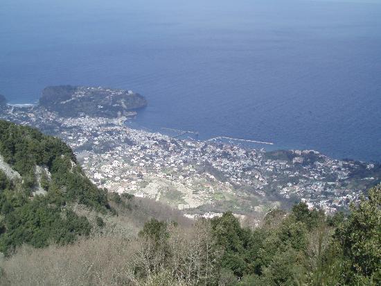 """Ischia, Italia: panorama dal monte Epomeo verso Lacco Ameno. si nota lo scoglio detto """"il Fungo"""""""