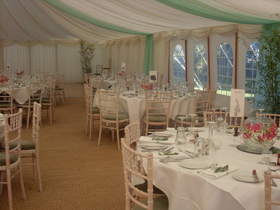 Monmouth, UK: Marquee setting- almost ready to turn the glasses over..