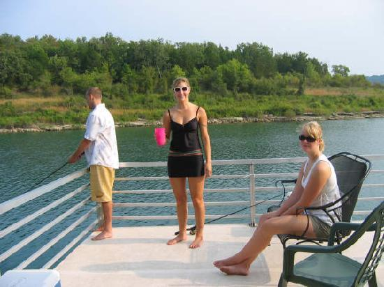 Bull Shoals Lake Boat Dock: A little fishing off the stern... determination!