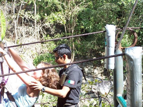 Los Veranos Canopy Tour: The last line - drops you off @ the bar & swimming area