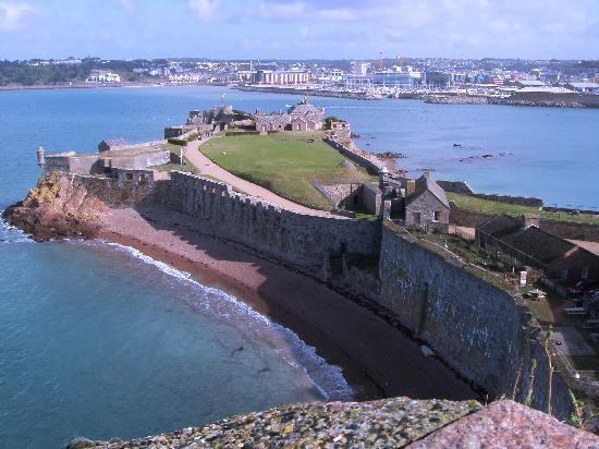 Merton Hotel: View from Elizabeth Castle over to St Helier in St Aubins Bay