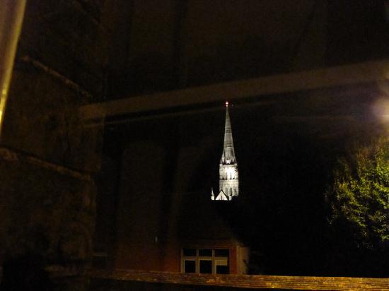 Cathedral View: Shot of the Cathedral spire at night from our window