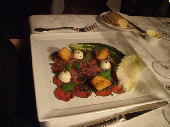 Inn at Little Washington: first course: lamb carpaccio